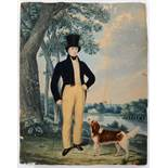 English school, 19th century, a full length portrait of a gentleman wearing a top hat with his