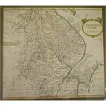 Lincolnshire. A Robert Morden tinted map, Lincolnshire, 36 x 40.5 cm, and a Robert Morden tinted