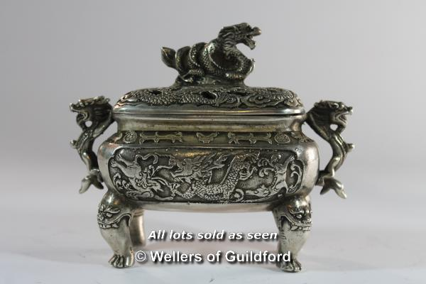Lot 7197 - A Chinese rectangular censor with dog of Fo finial, 13cm.