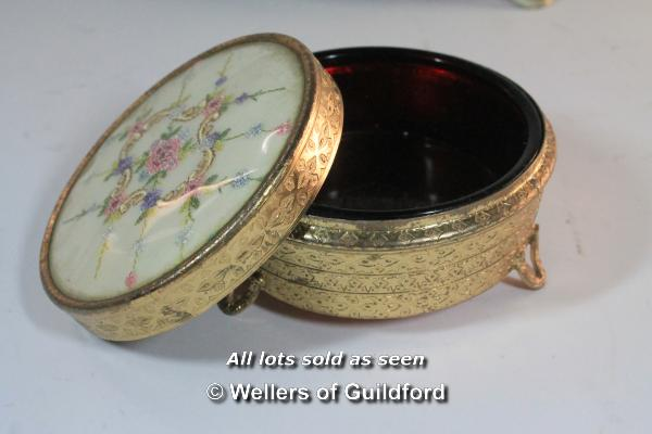 A 1950's dressing table set comprising oval tray, mirror, brush and two powder bowls. - Image 5 of 8