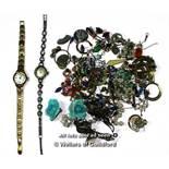 *Ladies' vintage silver and marcasite Accurist cocktail watch, a ladies' Montine wristwatch,