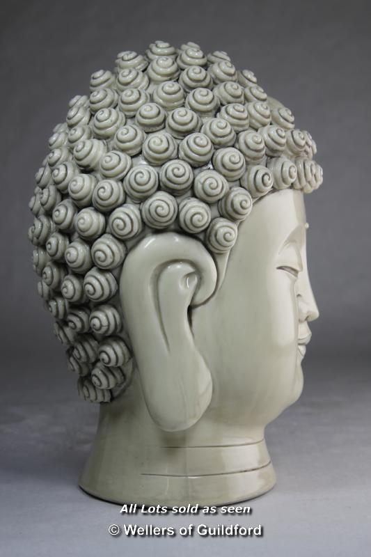 A Chinese blanc-de-chine portrait bust of Buddha, impressed mark to back of neck, 28cm. - Image 3 of 5
