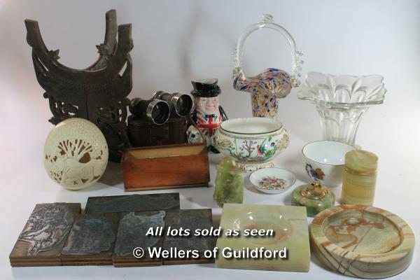 Lot 7392 - *A job lot of assorted items including printers' blocks, china, an ostrich egg, etc.