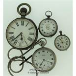 Four vintage pocket watches, including a ladies' silver pocket watch with white enamel dial with a