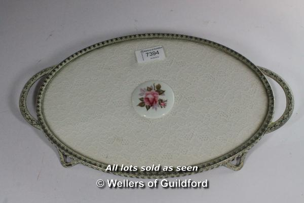 A 1950's dressing table set comprising oval tray, mirror, brush and two powder bowls. - Image 7 of 8