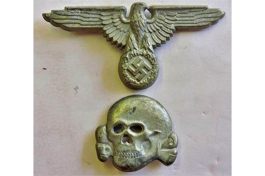 German WWII Waffen SS Eagle and totenkopf (Skull) Cap badges