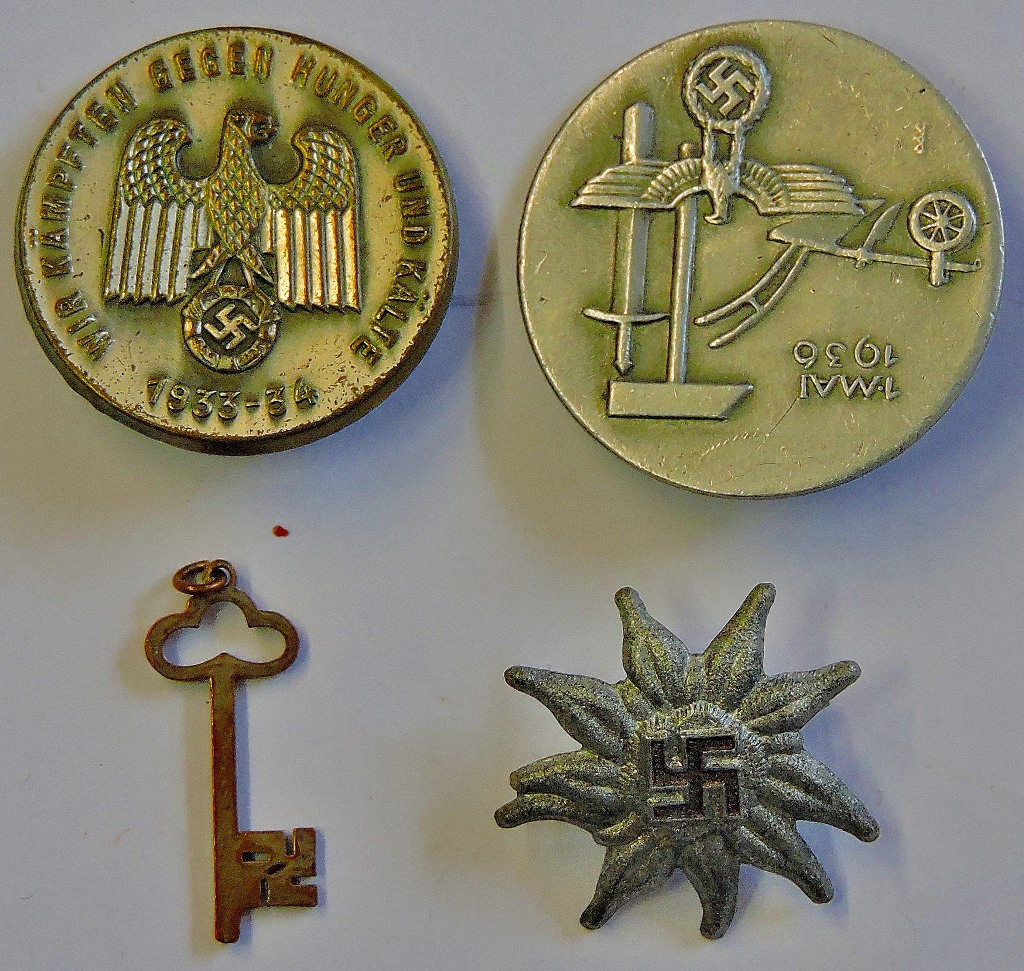 German Day badges 'Tinnies' (4) including scarce Edelweiss ...