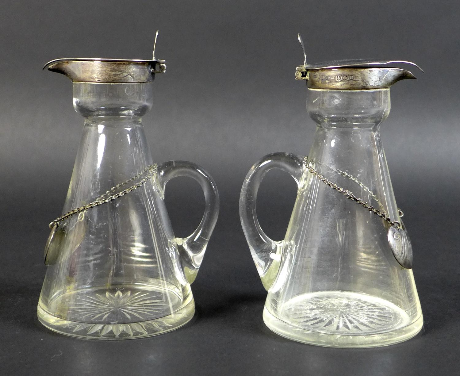 A pair of Edwardian clear glass and silver mounted noggin flasks, each of tapering form with mounted - Image 5 of 17