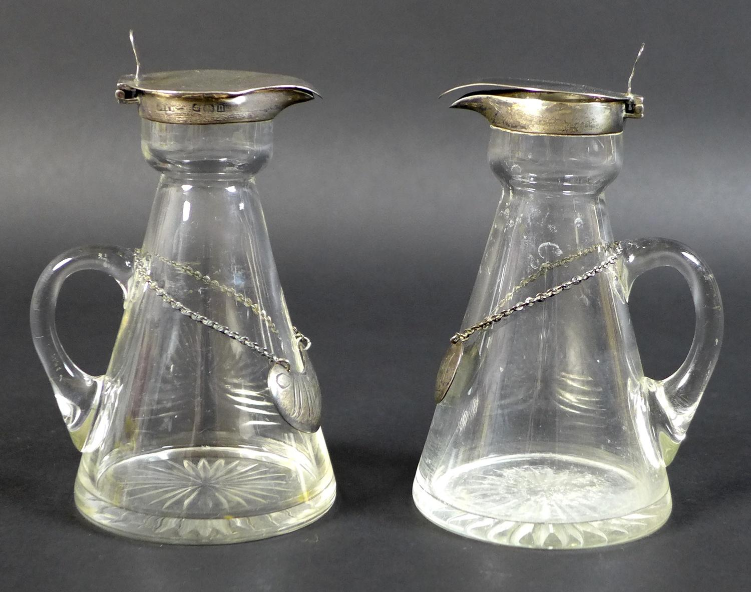 A pair of Edwardian clear glass and silver mounted noggin flasks, each of tapering form with mounted - Image 7 of 17