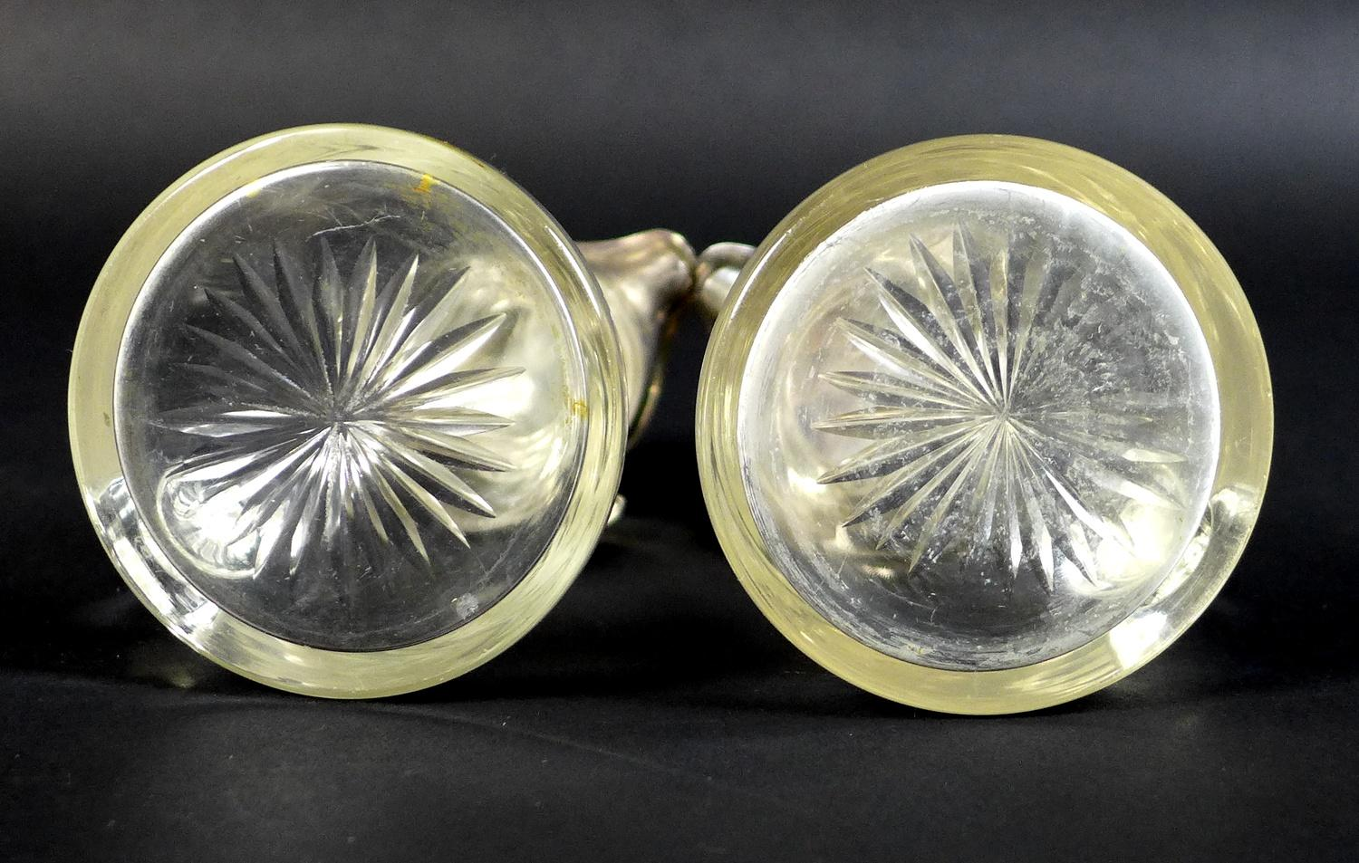A pair of Edwardian clear glass and silver mounted noggin flasks, each of tapering form with mounted - Image 9 of 17