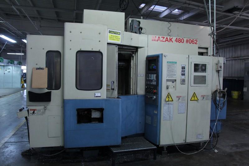 "Lot 8 - Mazak FH480X 4 Axis CNC Horizontal Machining Center, Mazatrol M-Plus control, 16"" pllts, 22"" x 24"" x"