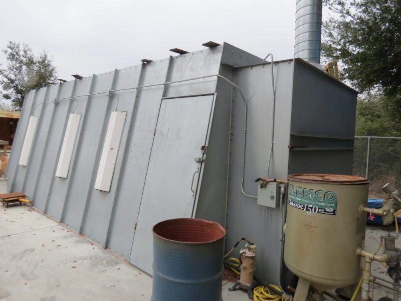 Lot 29 - 10'W x 22'L x 8'H Abrasive Blast Booth, w/ Clemco Abrasive Hopper & Gun (Located in Simi Valley, CA)