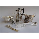 A small amount of silver plated items to include sauce boats, Ronson Crown lighter, cake tongs,