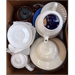 A mixed selection of terra cotta baking dishes, china,