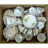 A mixed box of vintage tea wares - Vale and Royal Stuart patterns