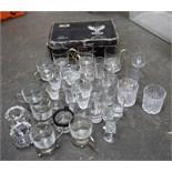 A quantity of glasses, cut glass tumblers,