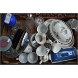 A mixed lot of ceramics, cut glassware and other items to include pieces by Aynsley,