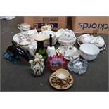 A box of vintage tea wares and a Poole Pottery Dolphin