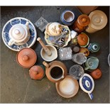 A box of ceramics to include Wade, Denby,