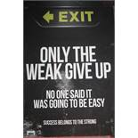 """Boxed Inspirational Wall Art Picture Quote """"Only The Weak Give Up No One Said It Would Be Easy,"""