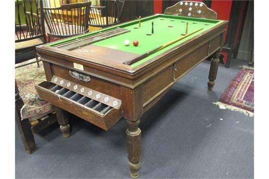 A W. Jelks & Son Bar Billiard Table, coin operated