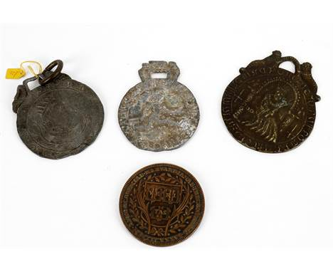 Three 'Billy and Charley' medallions, to include a lead medallion depicting a king's head, 1390 and a figure to the reve