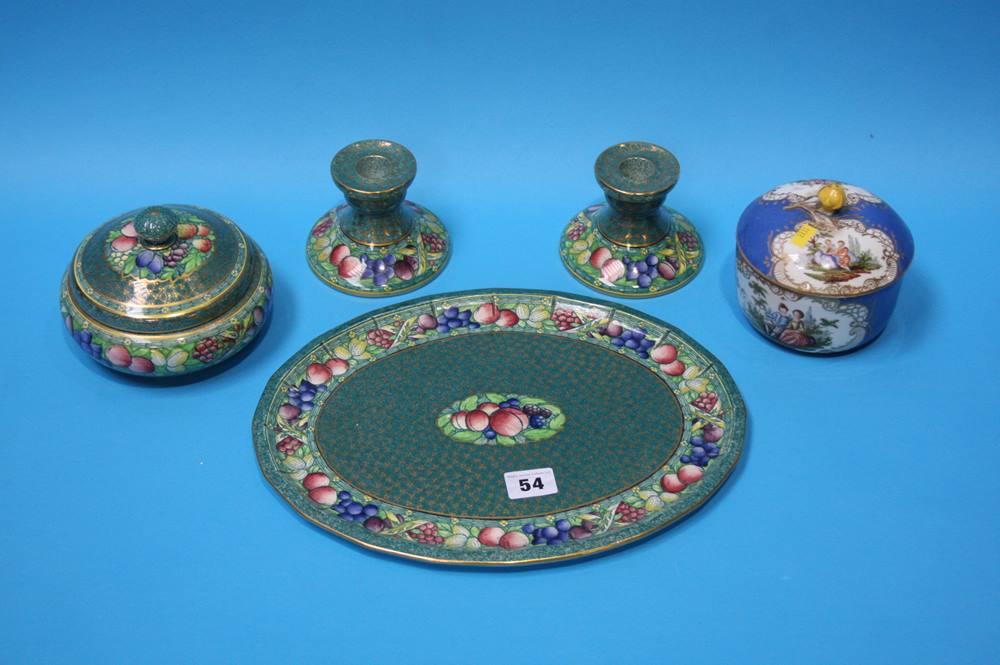 Lot 54 - A Minton 'Rotique' dressing table set and a French powder bowl and cover (5)
