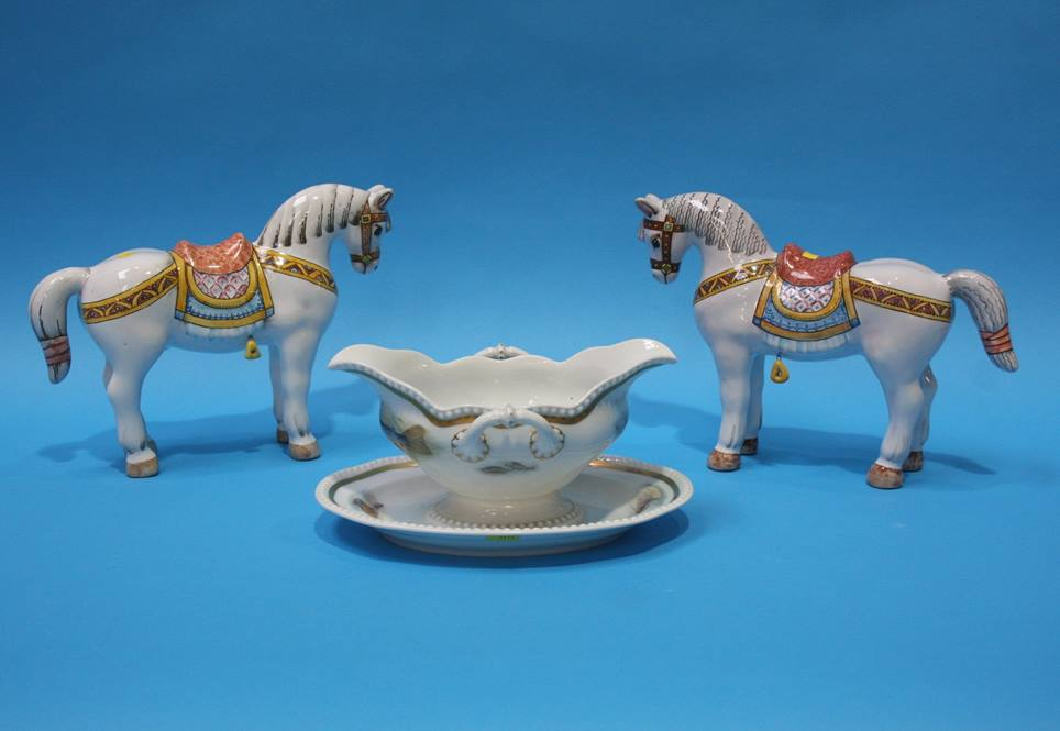 Lot 30 - A Rosenthal sauce tureen decorated with fish and a pair of Russian Horses