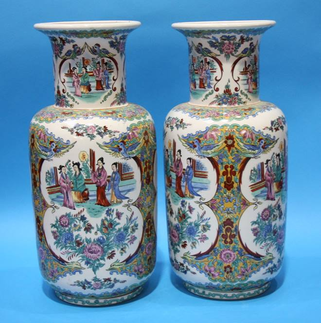 Lot 9 - Pair of modern Chinese vases