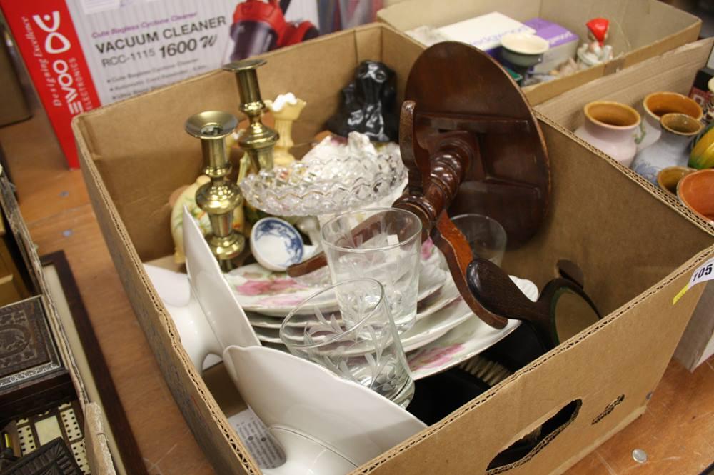 Lot 105 - Box including pair of candle sticks, ebony dressing table set etc.