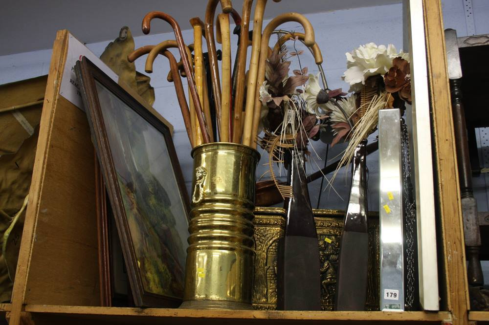 Lot 179 - Shelf of assorted pictures, large clock etc.