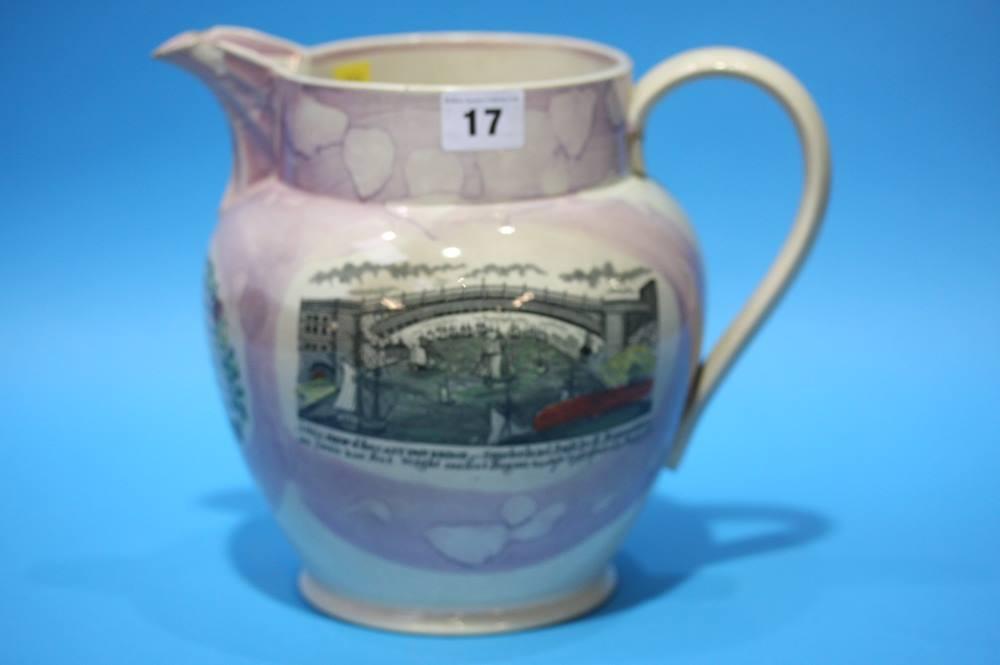 Lot 17 - A Sunderland Purple lustre; View of Sunderland bridge and two verses