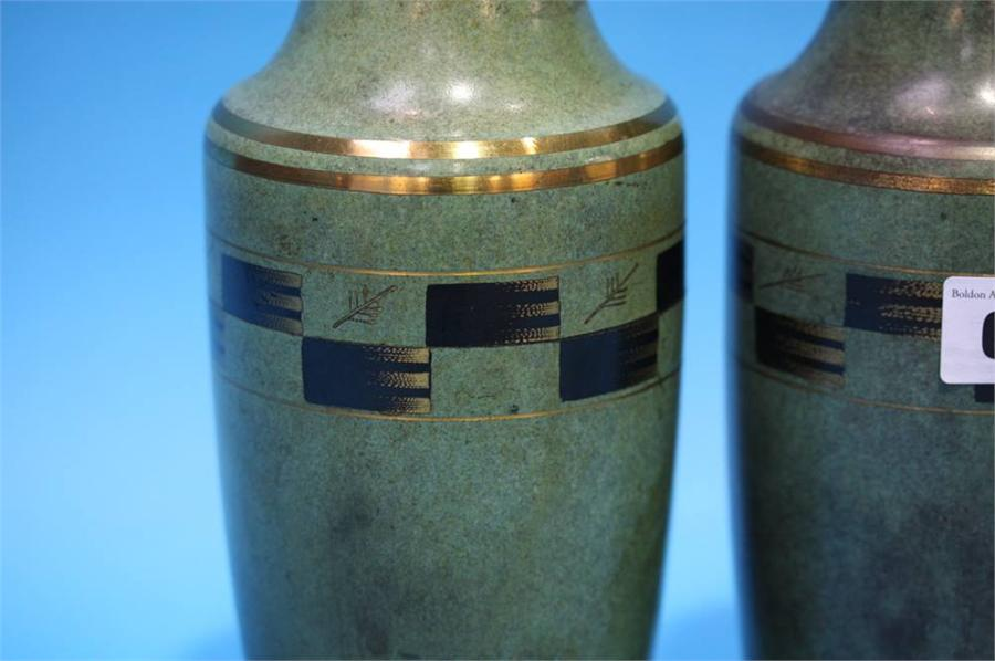 Lot 66 - A Pair of Wumark of Germany metal ware vases with