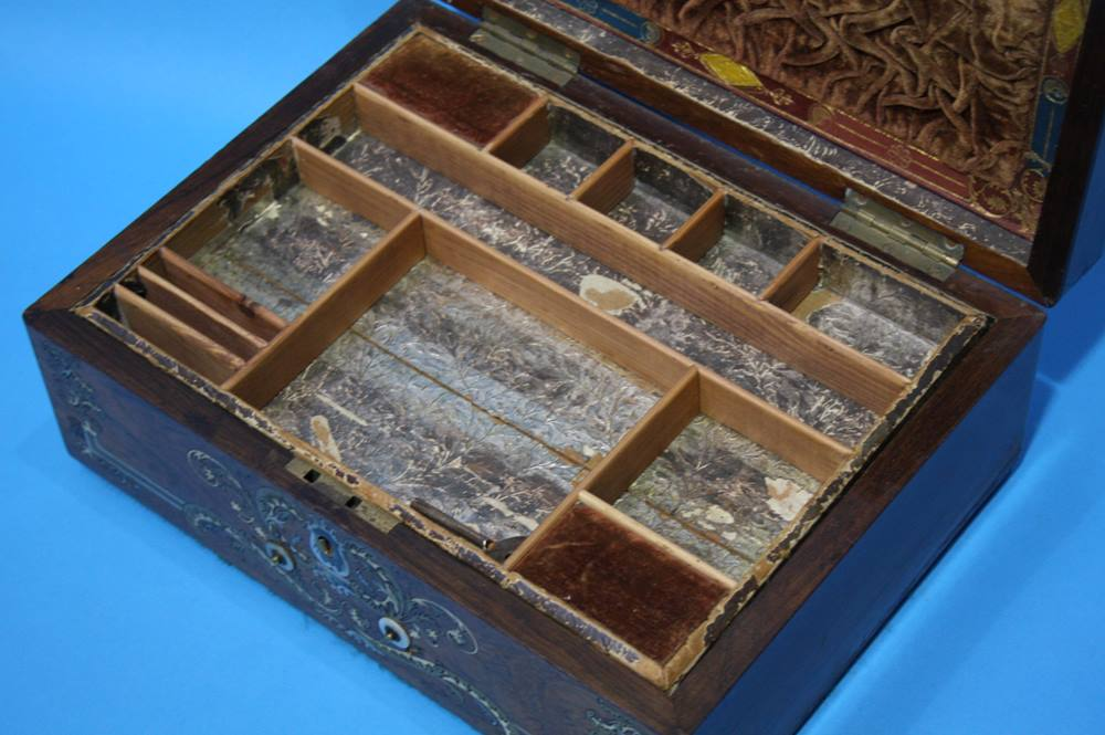Lot 10 - Victorian Rosewood and Mother of Pearl and brass inlaid work box 31cm wide