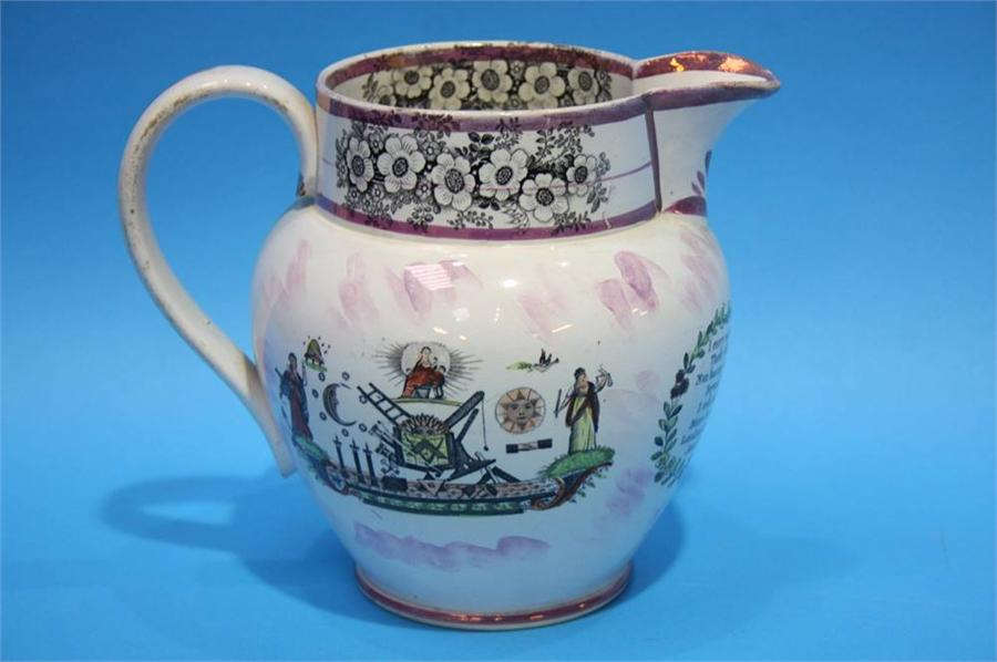 Lot 69 - A Sunderland Purple lustre Masonic jug with View o