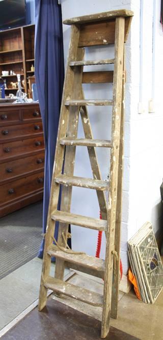 Lot 85 - Set of pine step ladders