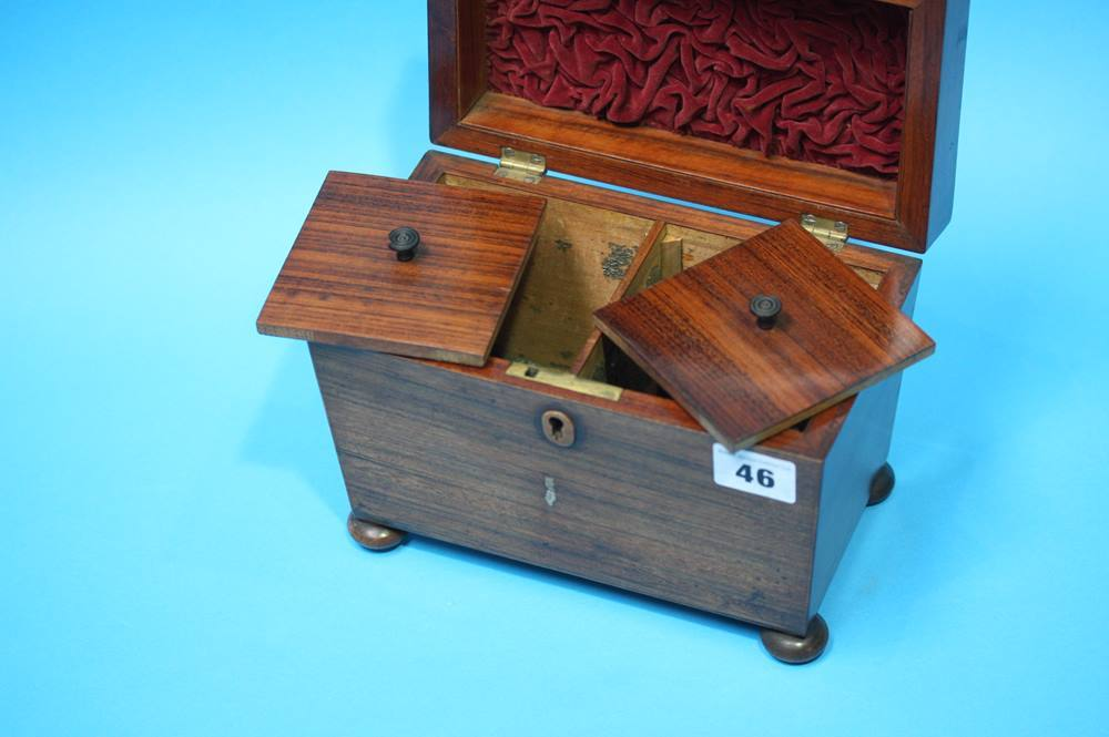 Lot 46 - A 19th Century Rosewood tea caddy 21cm wide