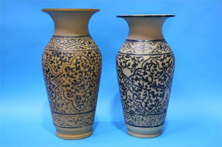 Lot 82 - Two large earthenware vases with wide flared rims,