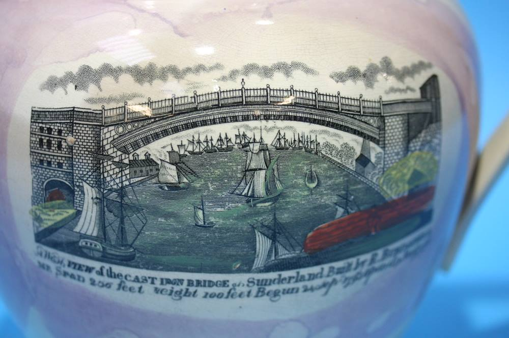 Lot 17 - A Sunderland Purple lustre; View of Sunderland bridge and two verses