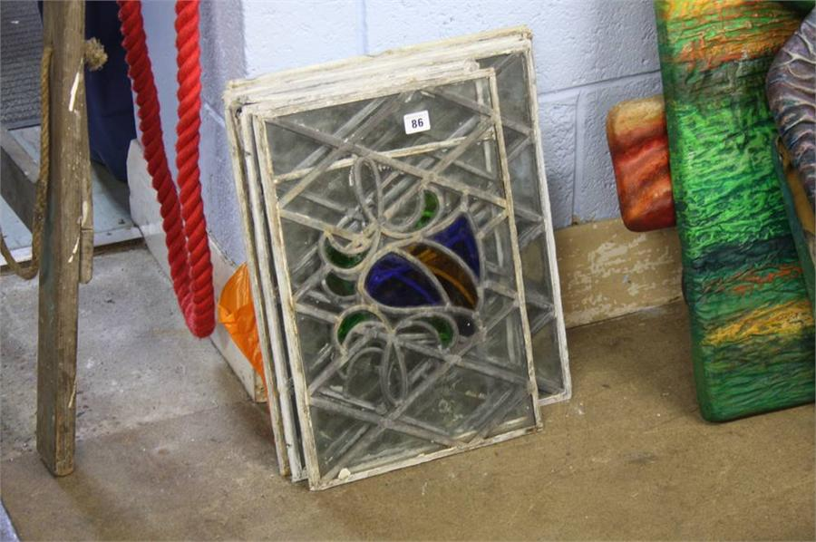 Lot 86 - Quantity of leaded glass panels