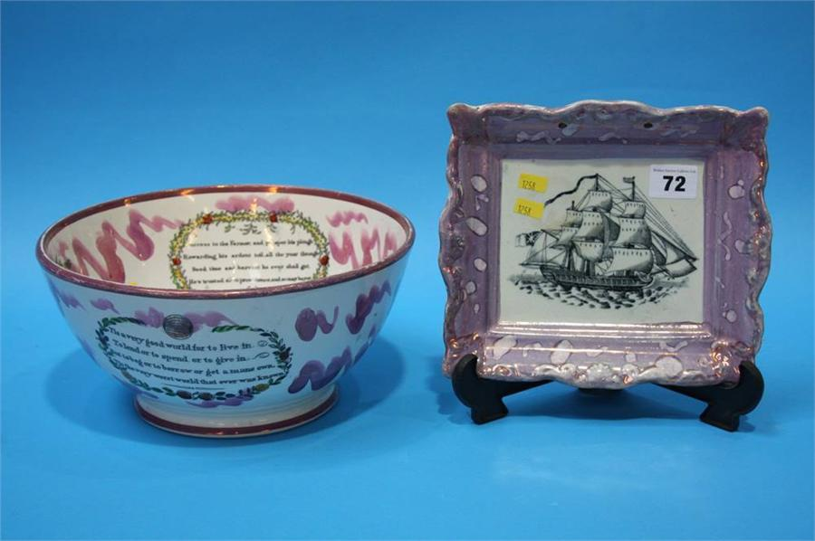 Lot 72 - A Sunderland Purple lustre plaque and a Scott's So