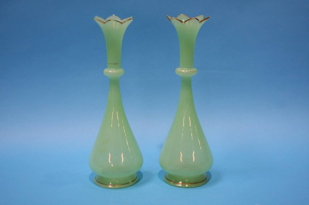 Lot 27 - Pair of Victorian apple green glass vases