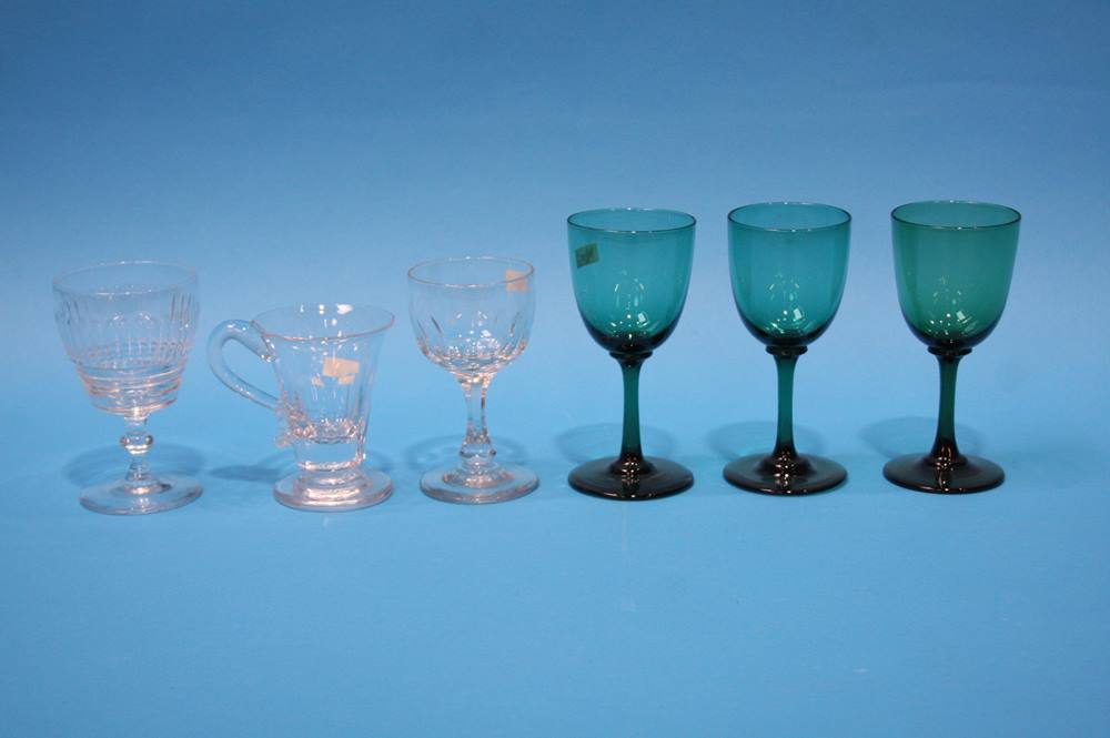 Lot 37 - 3 Green wine glasses etc.