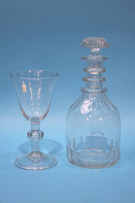 Lot 6 - A glass decanter and a large wine glass