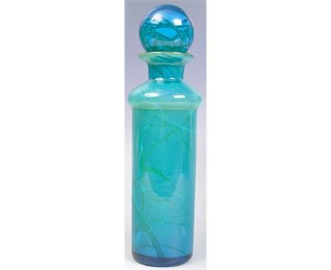 After Michael Harris - Mdina - An original retro vintage 20th Century Maltese studio art glass bottle vase decanter / carafe