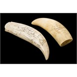 """Lot 91 - *Scrimshaw. A 19th-century whale's tooth with later decoration, engraved with a ship entitled """""""