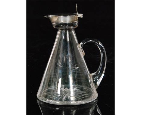 A hallmarked silver and clear glass noggin, the tapering conical glass body below a plain silver collar and hinged cover, hei
