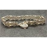Vintage silver 3 bar gate bracelet with lock and cain 11.5g