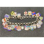 Foreign silver (800 grade) bracelet with 23 charms and enamel souvenir charms 30g