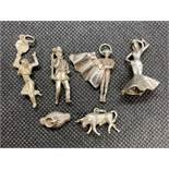 6x vintage silver charms all with Spanish theme 21g